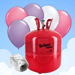 Helium Canister - For 30 Pink/White Balloons & Ribbon by Party Delights