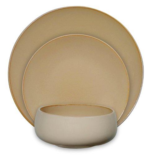 Gibson Urban Bistro 12-Piece Reactive Tutone Stoneware Dinnerware Set, Amber/Cream