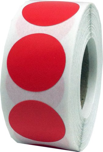"Red Color Coding Dot Labels 3/4"" Round .75 Diameter Inventory Code Stickers - 500 Per Roll"
