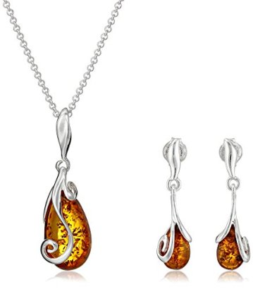 Sterling-Silver-Amber-Stud-Earrings-and-Chain-Pendant-Necklace-Jewelry-Set-18