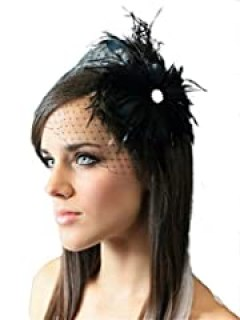 Jelinda Bridal Wedding Party Fascinator Face Veil Headpieces Feather Clip