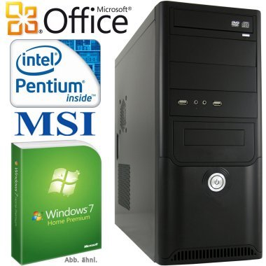 Leiser Allround PC shinobee #4225 - Computer System mit Intel Pentium D 945 2x 3400 MHz | 4 GB DDR3 | 640GB S-ATA HDD | MSI Mainboard | Intel GMA X4500 | 22xDVD±RW | 7.1 Sound | Gigabit LAN | Windows 7 Home Premium inkl. Office 2010 | G-DATA Internet Security 2013 | inklusive Windows 8 Upgrade Option von shinobee
