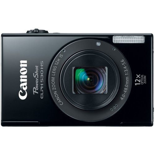 Canon PowerShot ELPH 530 HS 10.1 MP Wi-Fi Enabled CMOS Digital Camera with 12x Optical Image Stabilized Zoom 28mm Wide-Angle Lens with 1080p Full HD Video and 3.2-Inch Touch Panel LCD (Black) (Discontinued by Manufacturer)