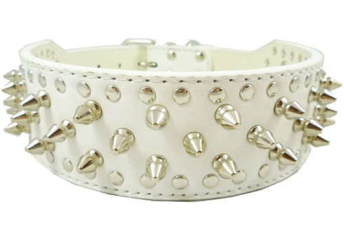 Dogs Kingdom White Faux Leather Spiked Studded Dog Collar 2