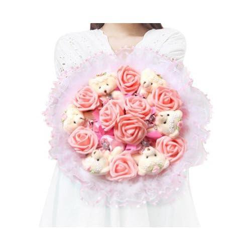 Capli カプリ ハンドメイド くま束 熊束 ベア ブーケ 造花 ぬいぐるみ 白 結婚式 結婚記念日 出産祝い 誕生日 プロポーズ ギフト (ピンク)