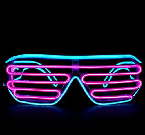 Cyan and Pink LED Light Up Glasses – GloFX Luminescence Light Shutter Shades El Wire Blue Plus Pink 2 Color Dual Color – Sound Activated
