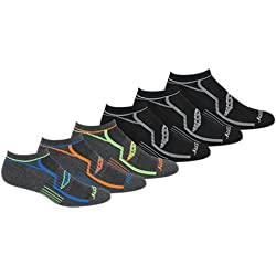 Saucony Men's 6 Pack Performance No Show Socks, Grey/Blk Asst, 10-13 Sock/8-12 Shoe