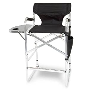 PROFESSIONAL Tall Folding Directors Chair with Side Table, Cup Holder, Carry Handles, Side Storage Bag!