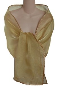 Sheer Gold Crystal Organza Evening Wrap Shawl for Prom ...