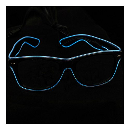New ! 2015 El Wire Neon LED Light Up Shutter Shaped Glasses for Rave Costume Party , Eye Wear
