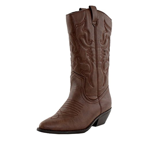 Women's Fashion Vegan Pointy Toe Embroidered Western Boots,7 B(M) US,Dark Tan Pu
