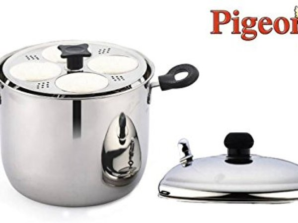 Pigeon Desire Stainless Steel 6 Plates Idly Maker, 125mm, silver