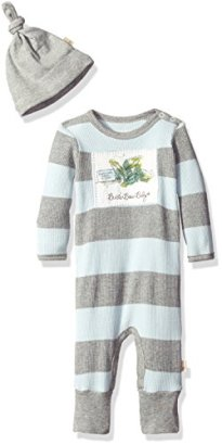Burts-Bees-Baby-Boys-Rugby-Stripe-Organic-Thermal-Coverall-Hat-Set