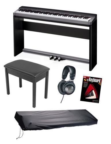 Casio PX130 Privia Digital Piano Keyboard BUNDLE including Stand, Triple Pedal Board, Bench, Headphones, Dustcover, and Book