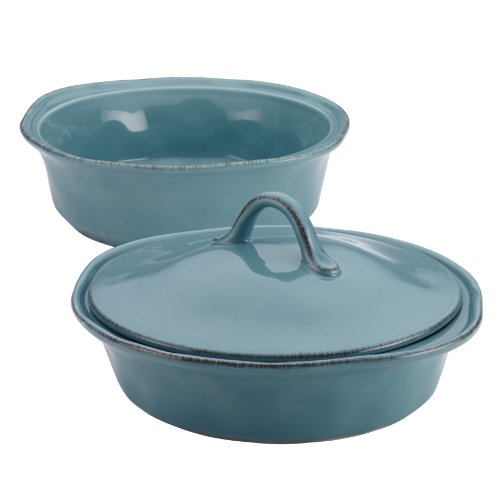 Rachael Ray Cucina Stoneware 3-Piece Round Casserole & Lid Set, Agave Blue