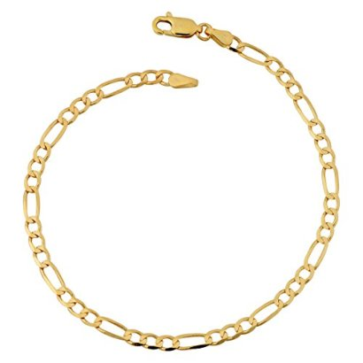 10k-Yellow-Gold-33mm-High-Polish-Concave-Figaro-Link-Anklet