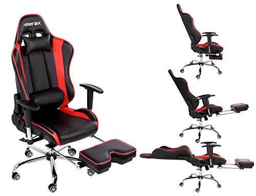 desk chair footrest office leans forward merax ergonomic series pu leather racing with computer gaming recliner swivel tilt rocker and seat height adjustment