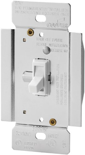 Cooper Wiring Devices TI3101-W-K 1000-Watt Single-Pole/3-Way Incandescent/Halogen Dimmer with Non-Preset, White