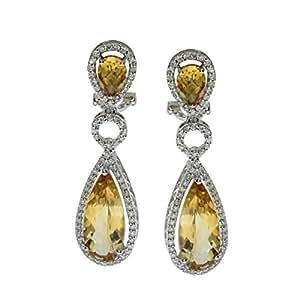 Amazon.com: 14k White Gold Dangle Citrine And Diamond
