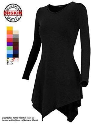 DRSKIN-Women-Handkerchief-Hem-Long-Sleeve-Tunic-Top-L-Black