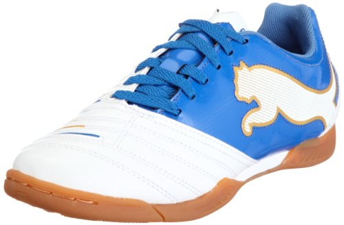 Puma PowerCat 4.12 IT Jr 102609, Unisex - Kinder Sportschuhe - Fußball, Weiss (white-puma royal-team gold 01), EU 39 (UK 6) (US 7)