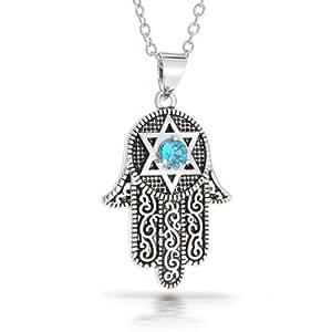 Amazon.com: Bling Jewelry CZ Star of David Hamsa Pendant