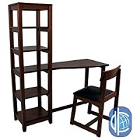 Wallaston Wood Desk and Chair Combo - Attached Bookcase ...
