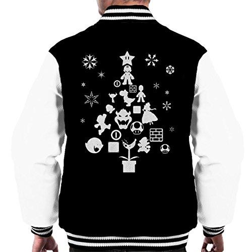 Super Mario Bros Christmas Tree Silhouette White Men's Varsity Jacket