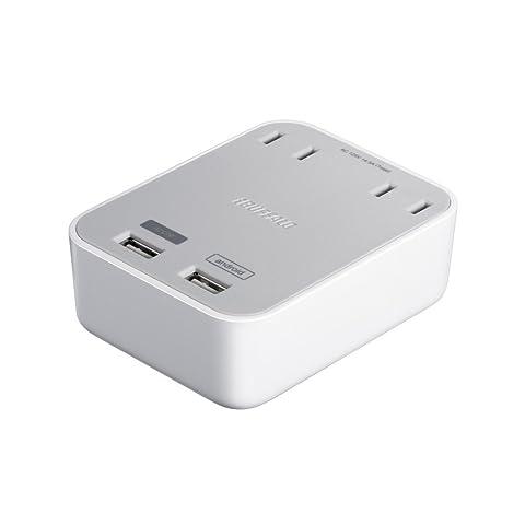 iBUFFALO 【iPhone6,iPhone6 Plus 動作確認済】コンセント2口付き USB充電器 3.1A出力 2ポートタイプ ホワイト BSMPBAC06WH