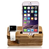 Apple Watch Stand, NewRice®[Charging Dock] Bamboo Wood Charge Station /Cradle for Apple Watch & iPhone - Fits iPhone Models: 5 / 5S / 5C / 6 / 6 plus and both 42mm & 38mm sizes of 2015 Watch Models (Bamboo Wood)