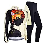 Sponeed Women's Cycle Jersey Bike Clothing Gel Padded Fresh Long Sleeve Size S US Multi