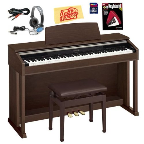 Casio AP-420 Celviano Digital Piano Bundle with Bench, 8GB SD Card, Audio Cable, Headphones, Instructional Book, and Polishing Cloth - Brown