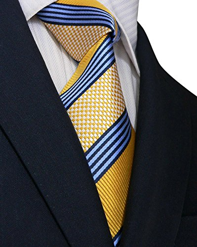 Landisun 15N ストライプ メンズ シルク ネクタイ セット:ネクタイ+ハンカチ+カフス ブルー イエロー, 148x9.5cm