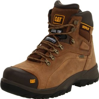 Caterpillar Men's Diagnostic Steel-Toe Waterproof Boot,Dark Beige,10 M US