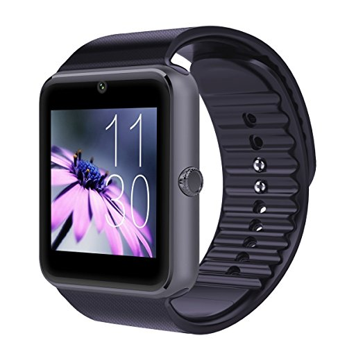 Qiufeng GT08 Bluetooth Smart Watch SmartWatch with Camera for Iphone and Android Smartphones (Black)