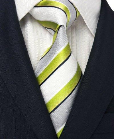 Landisun 305 ストライプ メンズ シルク ネクタイ セット:ネクタイ+ハンカチ+カフス (ライト グリーン ホワイト), 148x9.5cm