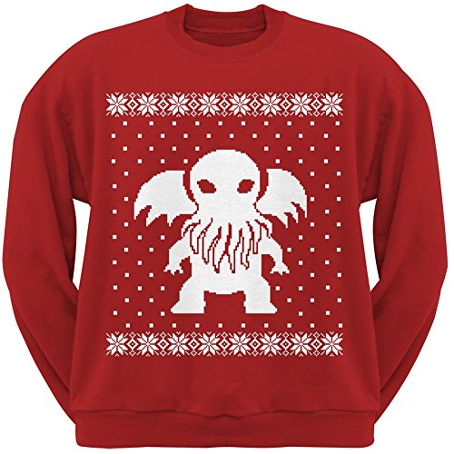 Big Cthulhu Ugly Lovecraft Christmas Sweater Red Adult Sweatshirt - Large