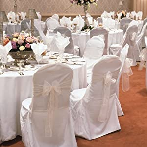 Amazoncom  White Wedding Round Top Banquet Chair Covers