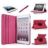 ATC (Hot Pink) 360 Degrees Slim Rotating Stand Leather Case Cover for Apple iPad mini 7.9 inch Tablet With Auto Wake / Sleep Feature