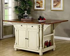 Coaster Large Scale Kitchen Island in a Buttermilk and Cherry Finish