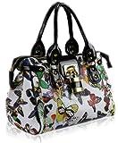 Womens White Butterfly Padlock Designer Handbag KCMODE