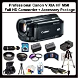 Canon VIXIA HF M50 Full HD Camcorder + Advanced Accessory Package Includes