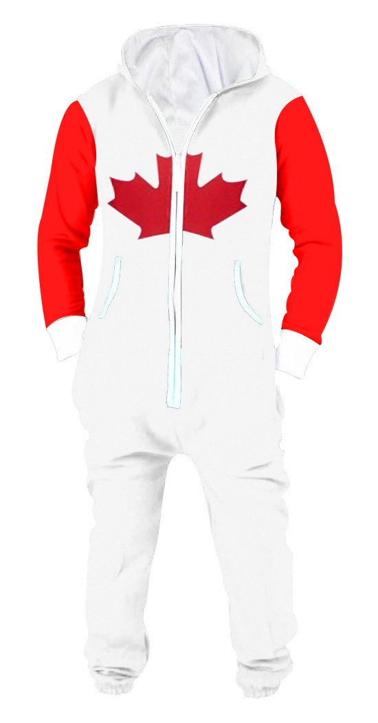 Men's Onesie Playsuit Jumpsuit One Piece Non Footed Pajamas Canadian Flag