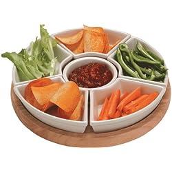 Apollo Lazy Susan - Set para aperitivos (bandeja de madera de caucho y cuencos de cerámica)