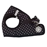 BINGPET BB5004 Polka Dot Soft Vest Dog Puppy Pet Harness Adjustable - Black