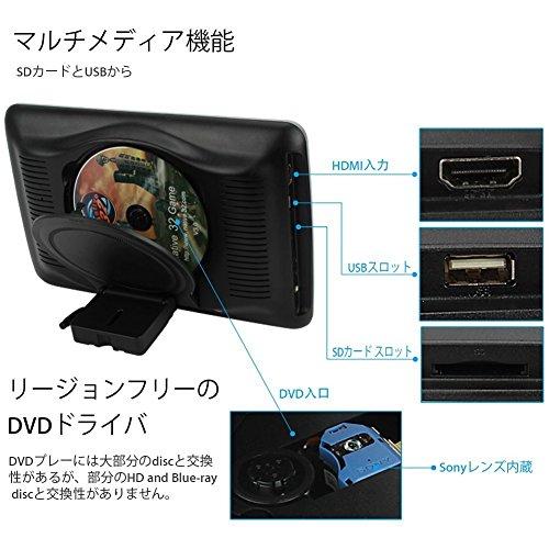 TK-SERVICE 10.1インチ ヘッドレスト モニター DVDプレーヤー HDMI対応 1024x600 ブラック USB/SD/FM/IRトランスミッター