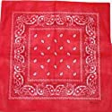large RED cotton bandana scarf BLACK & WHITE PAISLEY