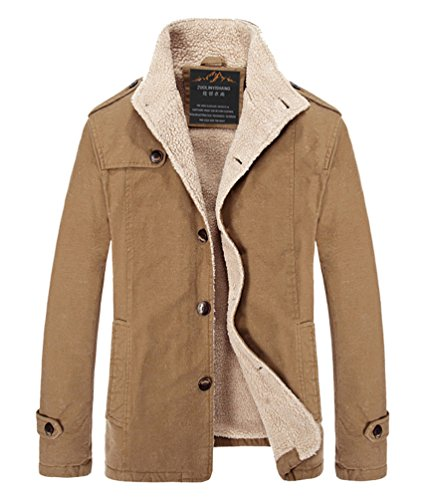 Vcansion Men's Cotton Windbreaker Hoodie Jacket Trench Coat Khaki S
