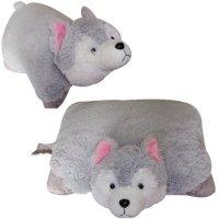 "Plush Pillows: SMALL WOLF PILLOW PET, ""ANIMALLOW"" BRAND, 11"""