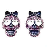 Amazon.com: DaisyJewel Pink Crystal Sugar Skull Stud ...